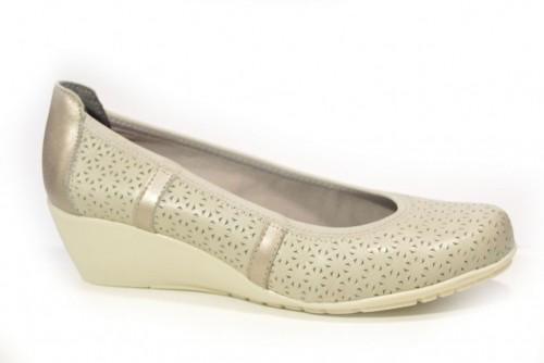Cuña Zapato Gris Picado Piel Fluchos OmnN80wv