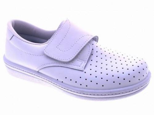 Zueco sanitario cerrado velcro hombre piel blanco for Zapatos de trabajo blancos